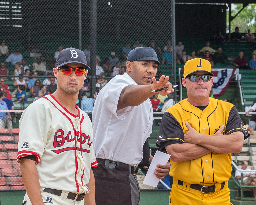 The umpire describes the ground rules